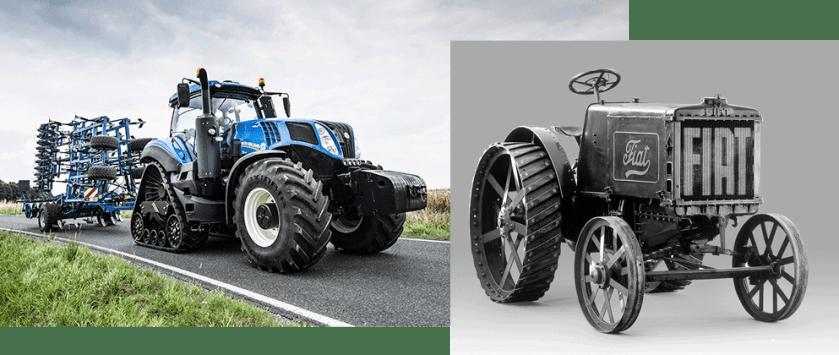 traktorpool präsentiert die Top 5 Traktorgiganten und ihre Urahnen. Fiat 702 vs New Holland T8.435.