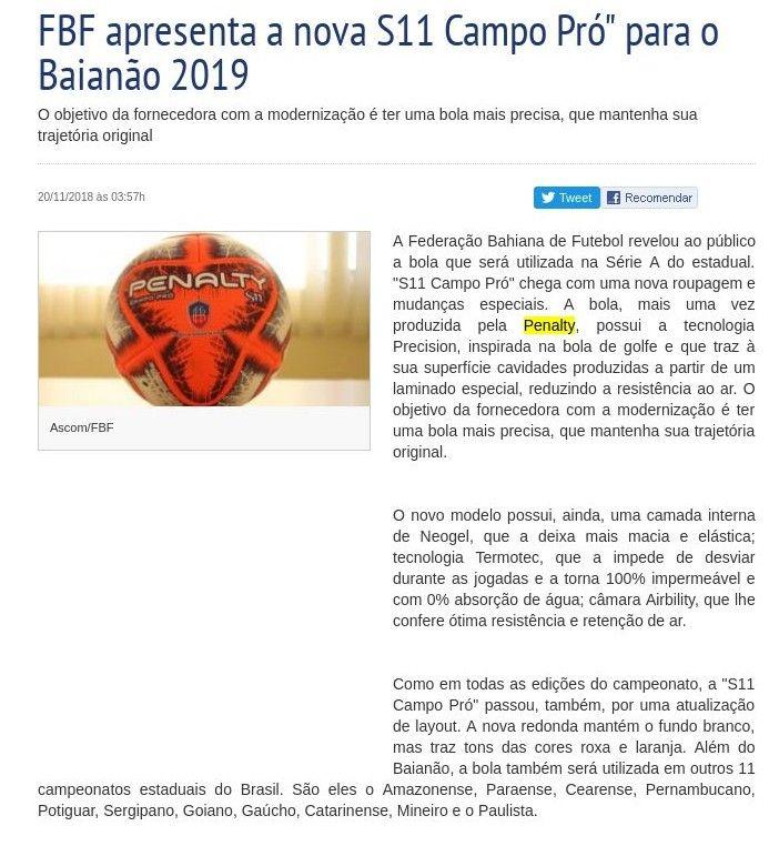 """FBF apresenta a nova S11 Campo Pró"""" para o Baianão 2019 – Folha do Estado  da Bahia a5ce84e96be2b"""