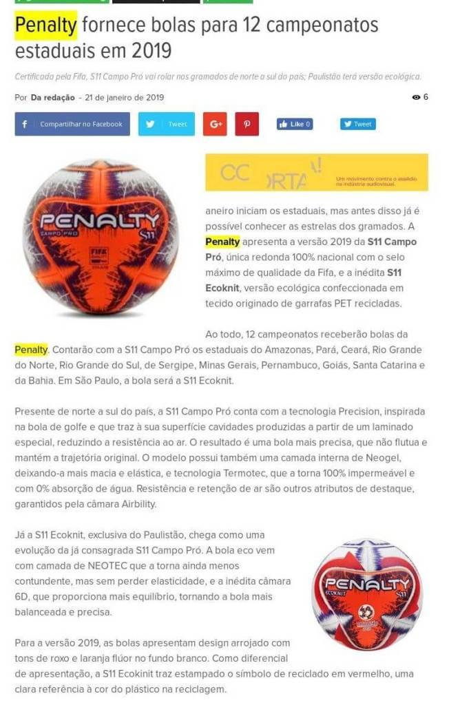 Penalty fornece bolas para 12 campeonatos estaduais em 2019 -Abc da  Comunicação 3dc43c1a6a2d6