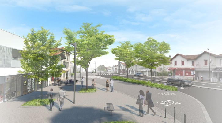 Anglet place Saint Jean avec l'arrivée du Tram'bus ©Arotcharen architecte
