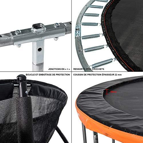 greaden trampoline de jardin freestyle orange 305 fitness exterieur o 305cm filet de securite coussin de protection