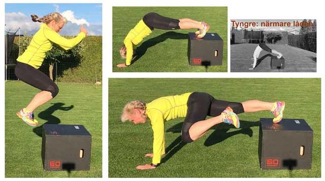 Boxjump, axelarmhävning, hög planka med knäuppdrag.