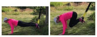 Magövning: Plankan med knäuppdrag i TRX band