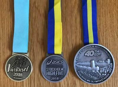 Medaljerna från Vårruset, Stockholm High Five och Stockholm Marathon