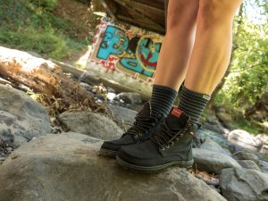 Lems Boulder Boots, Black with Injinji Nuwool Del Mar Grey Crew