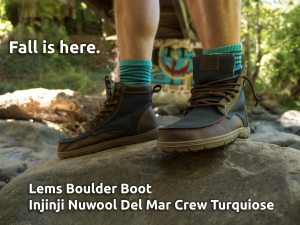 Lems Boulder Boot Navy Stout with Injinji Nuwool Del Mar Crew Turquoise
