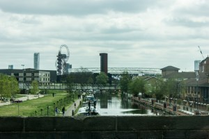 Professional Photography Canal With People And Boats Approaching Olympic Park Stratford East London
