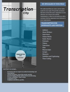 Transcription City Writing and Journalism 1