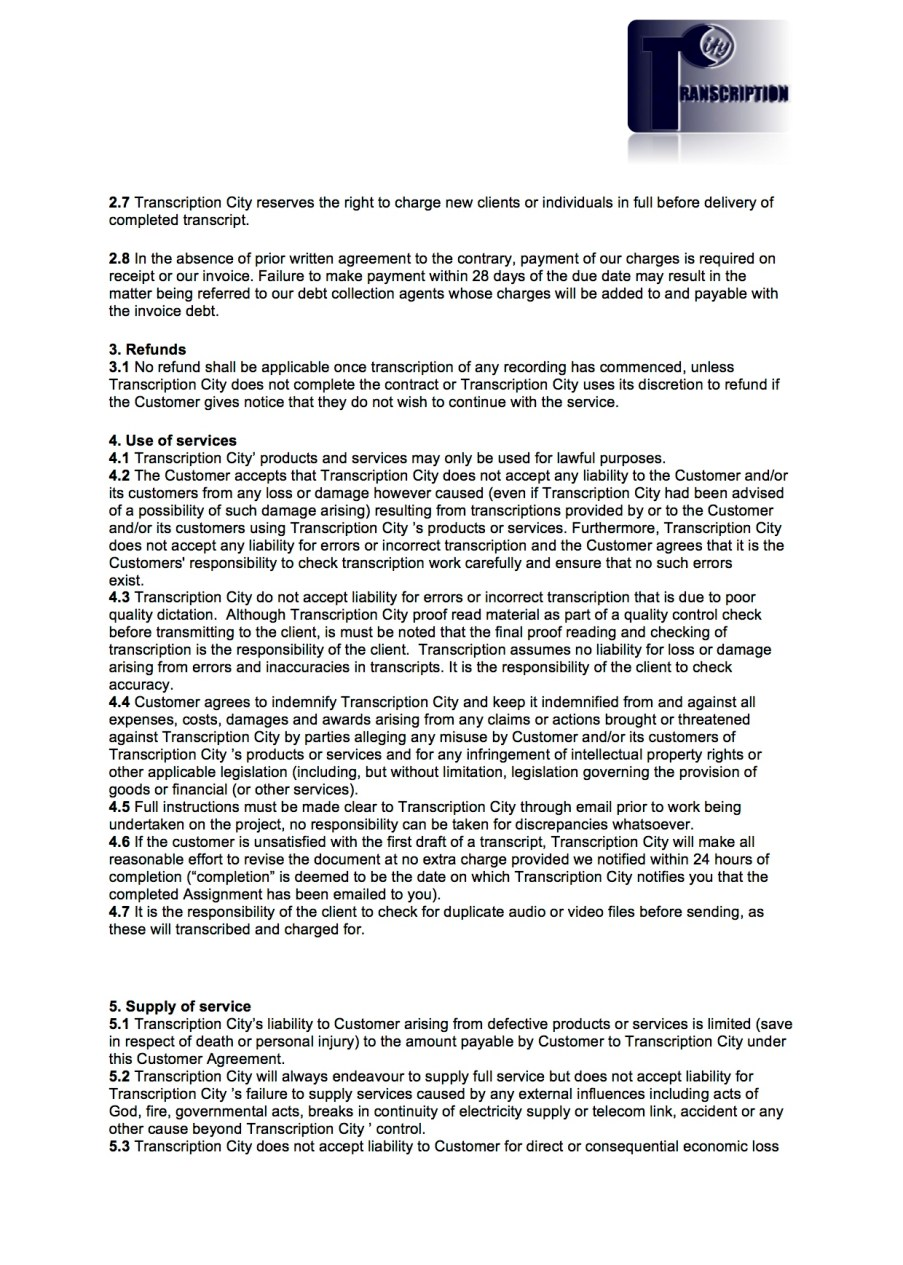 Terms and Conditions page 2