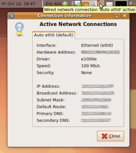 View your local computer's IP address using the network manager