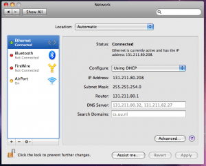 The Network settings in OS X 10.5 and up