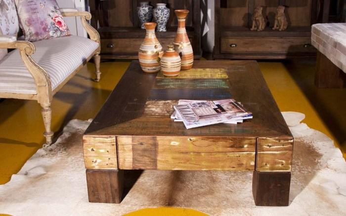 Mesa de centro de madeira de demolição – Como escolher (3) dicas de decoração fotos