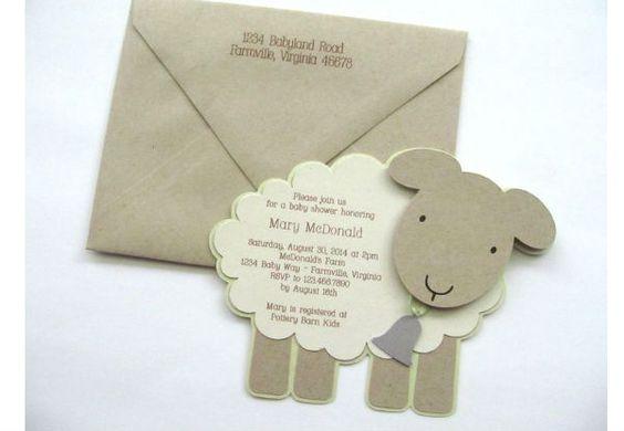Convite de chá de bebê ovelhinha