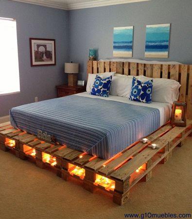 Cama de paletes com luzes