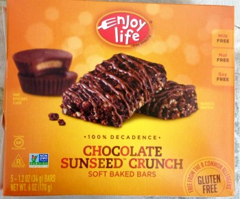 Enjoy Life Chocolate Sunseed Crunch Bars, contain sunflower seeds and cocoa, in yellow orange box, 5 bars per box. Gluten-free, nut-free, soy-free, dairy-free snack food, for kids, for school children