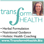 Teal Transform Health logo with photo of Diana, website www.TransformHealth.Biz, and three service areas: herbal formulation, nutritional guidance and holistic health coaching