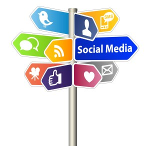 Social Media Sign Post on white background