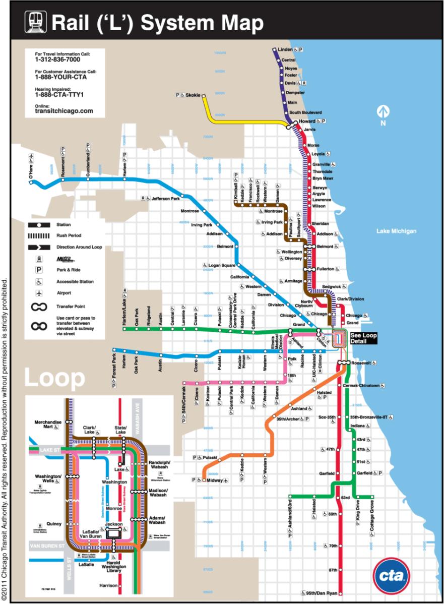 """transit maps: official map: chicago cta """"l"""" commuter rail"""