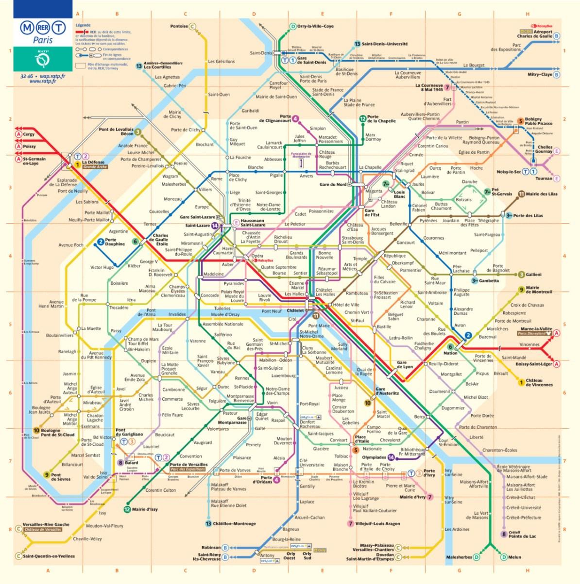 Map Subway Paris.Transit Maps Official Map Paris Metro Rer Tram Map 2011