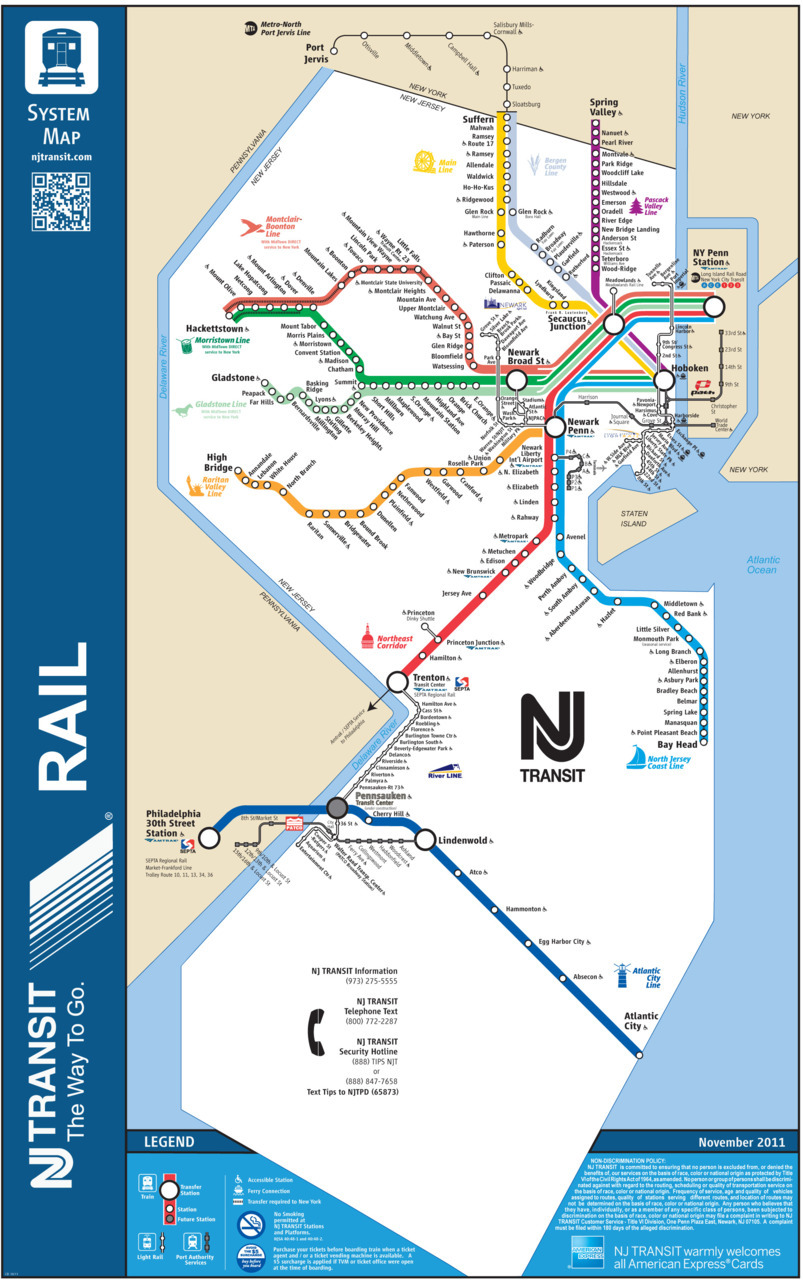 New York New Jersey Subway Map Pdf.Transit Maps Official Map New Jersey Transit Rail System 2011
