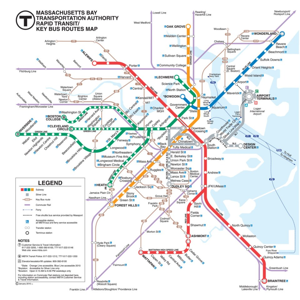 Boston Bus Map Transit Maps: Official Map: Boston MBTA Rapid Transit/Key Bus