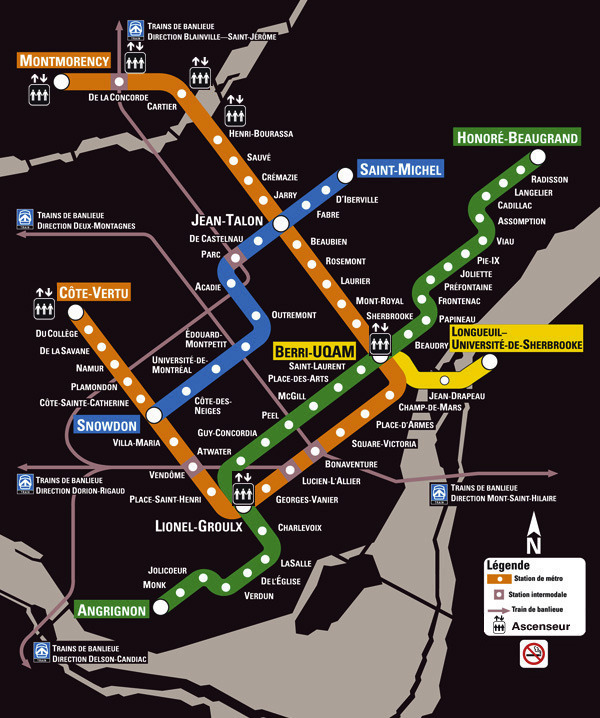Montreal Subway System Map.Transit Maps Official Map Metro De Montreal Quebec Canada 2012