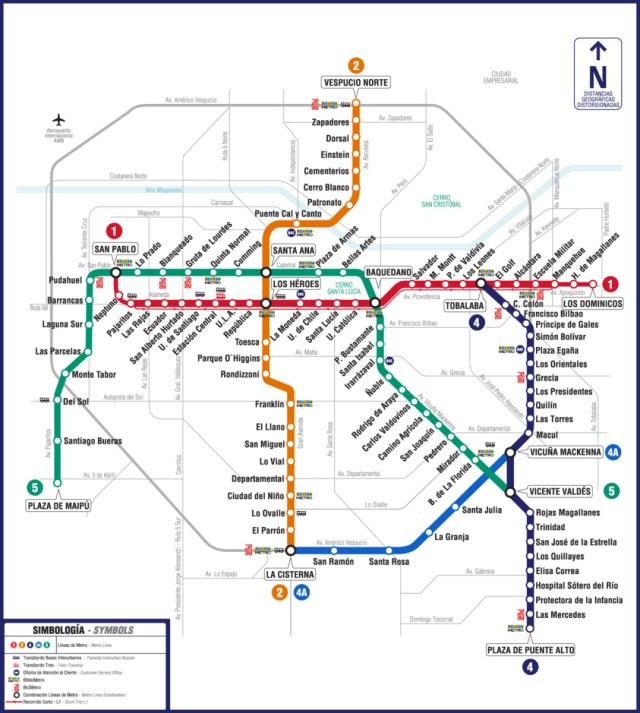 Subway Map In Chile.Transit Maps Official Map Metro De Santiago Chile 2012