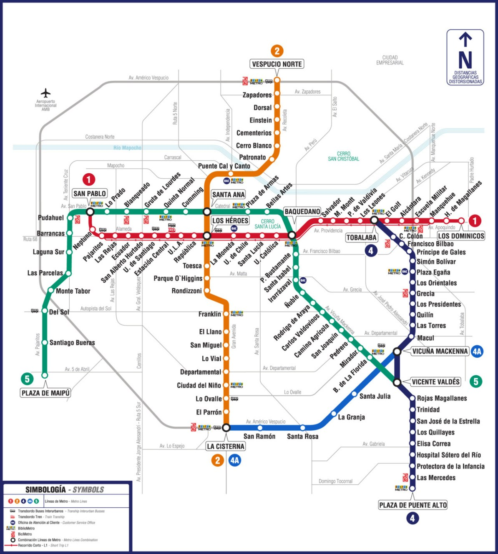 Santiago Subway Map.Transit Maps Official Map Metro De Santiago Chile 2012