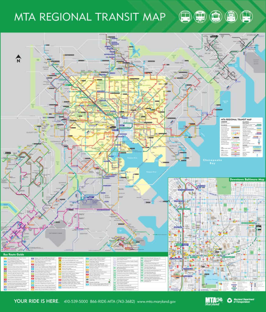 Mta Los Angeles Map.Transit Maps Official Map Maryland Transit Administration Regional