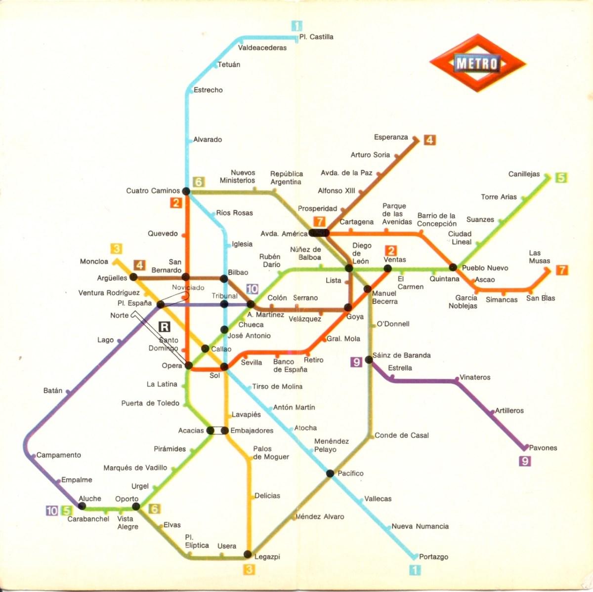 Subway Map Of Madrid.Transit Maps Historical Map Metro De Madrid 1981