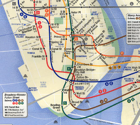 Subway Map Manhattan New York.Transit Maps Historical Map Detail Of New York Subway Map Post 9 11