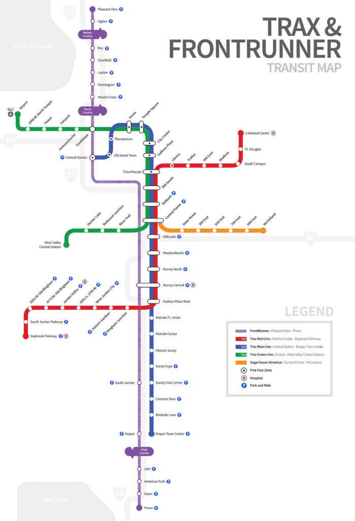 Va Hospital Utah Map.Transit Maps Unofficial Map Frontrunner And Trax Salt Lake City Utah