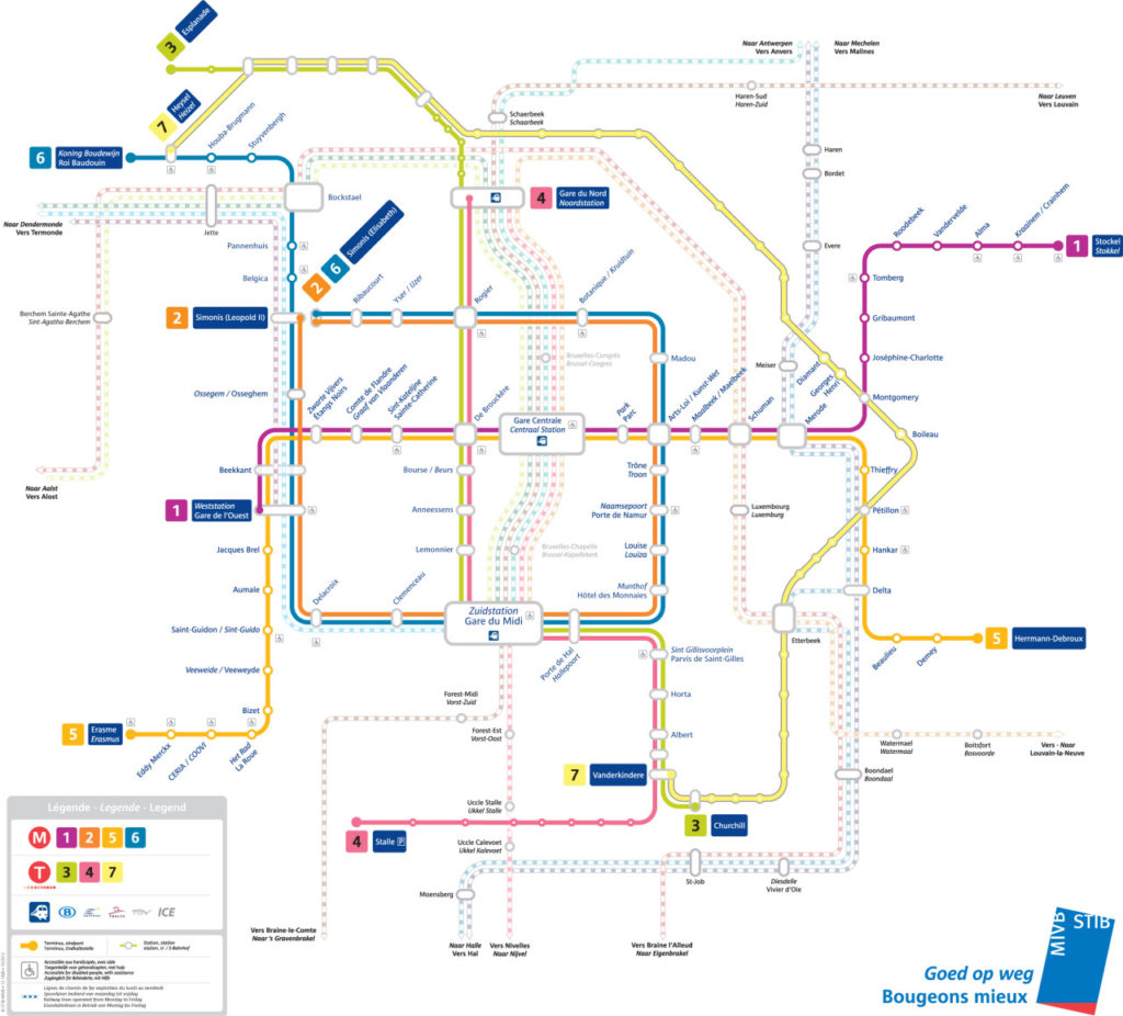 Transit Maps Official Map Brussels Metro Tram And Rail Network 2012