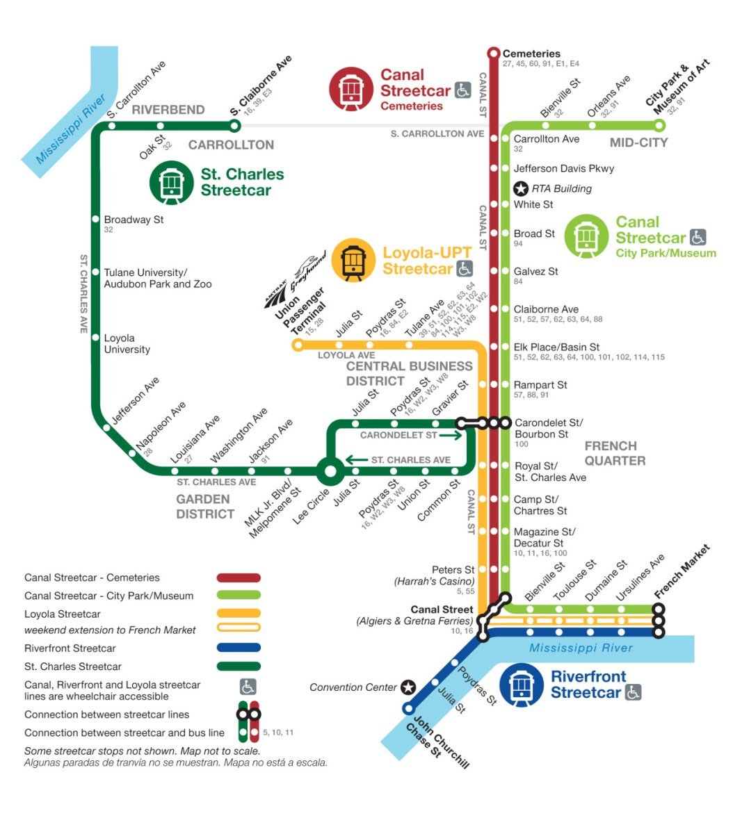 rta new orleans map Transit Maps Official Map Streetcar Network New Orleans 2013 rta new orleans map