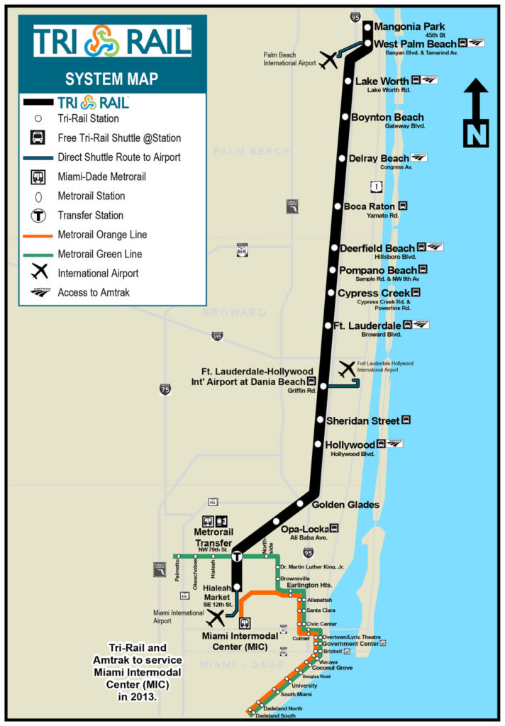 Airports In Southern Florida Map.Transit Maps Official Map Tri Rail Commuter Rail Southern Florida