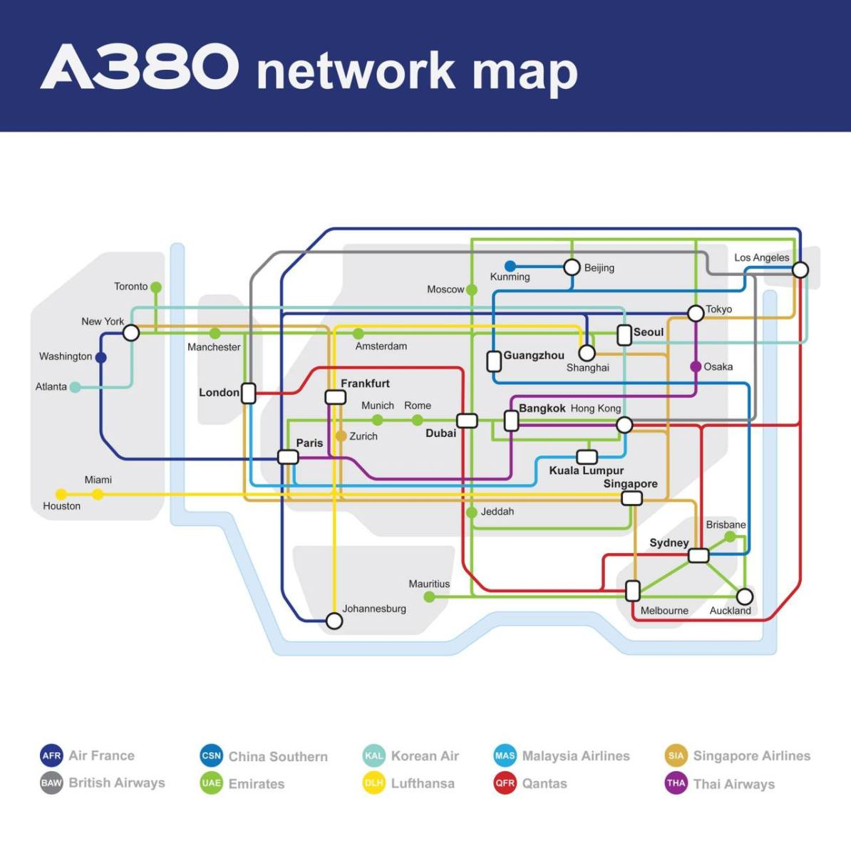 As A Subway Map.Transit Maps Fantasy Map Airbus A380 Network As A Subway Map