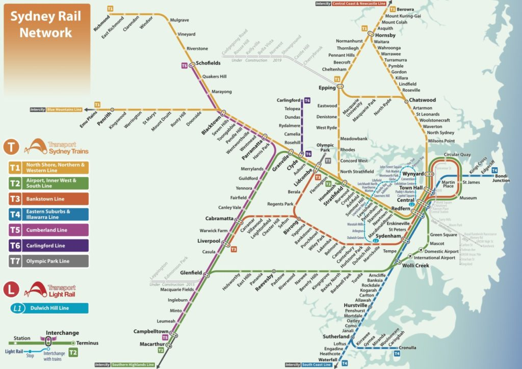 Transit Maps: Unofficial Map: Sydney Rail Network (Trains and Light ...