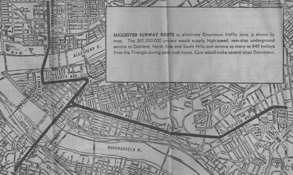 Transit Maps Historical Map Proposed Trolley Subway Pittsburgh 1951
