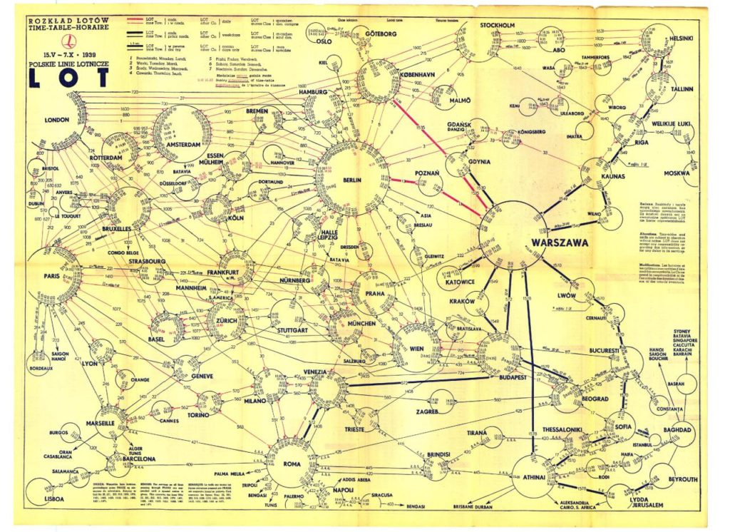Transit Maps: Historical Map: Polish Airlines LOT Route Map ...