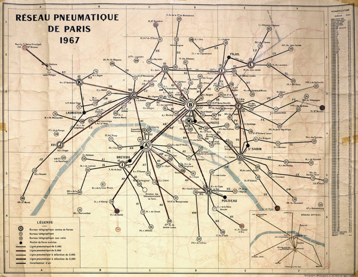 Transit Maps: Historical Map: Pneumatic Mail Tube Network, Paris, 1967