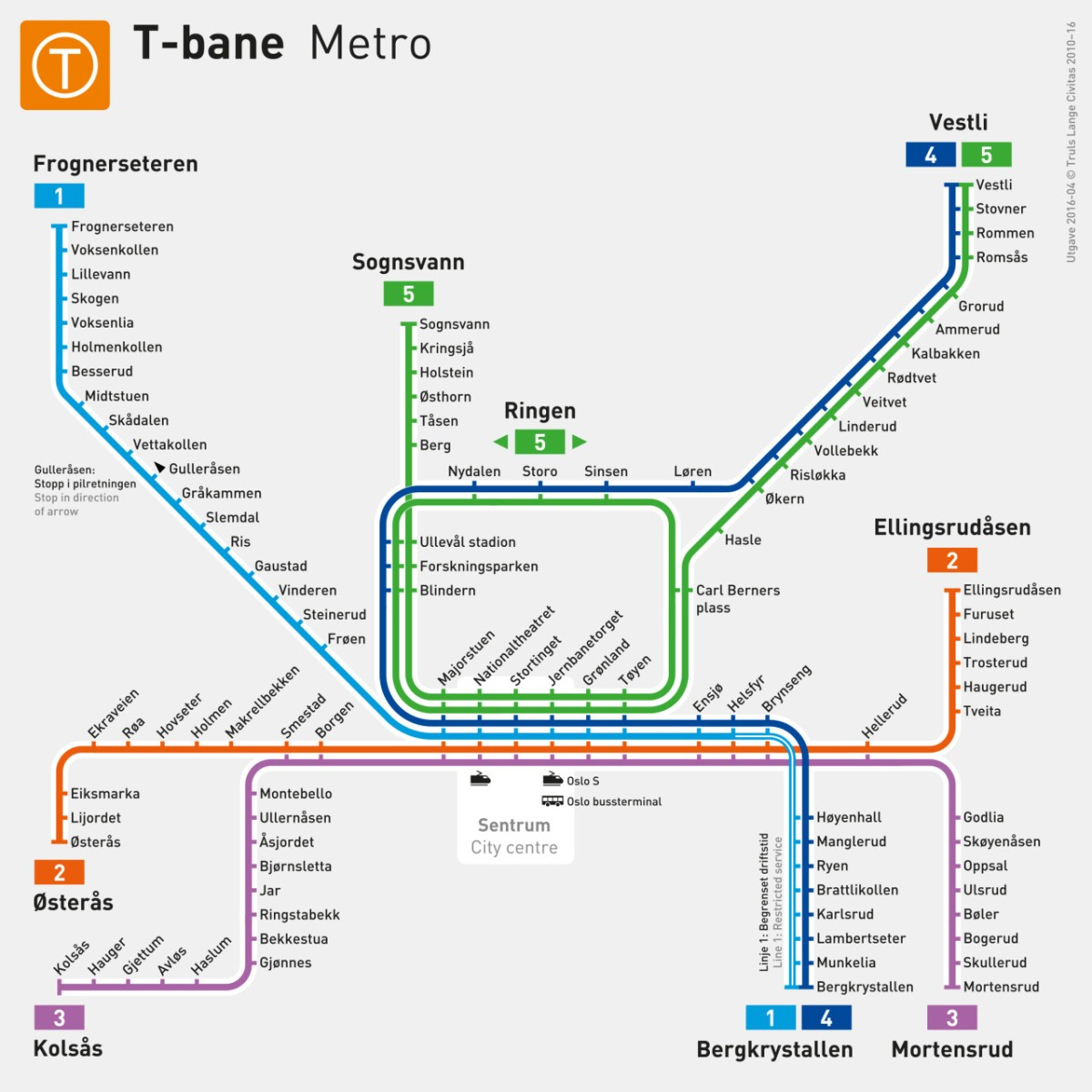 Image result for oslo t bane map