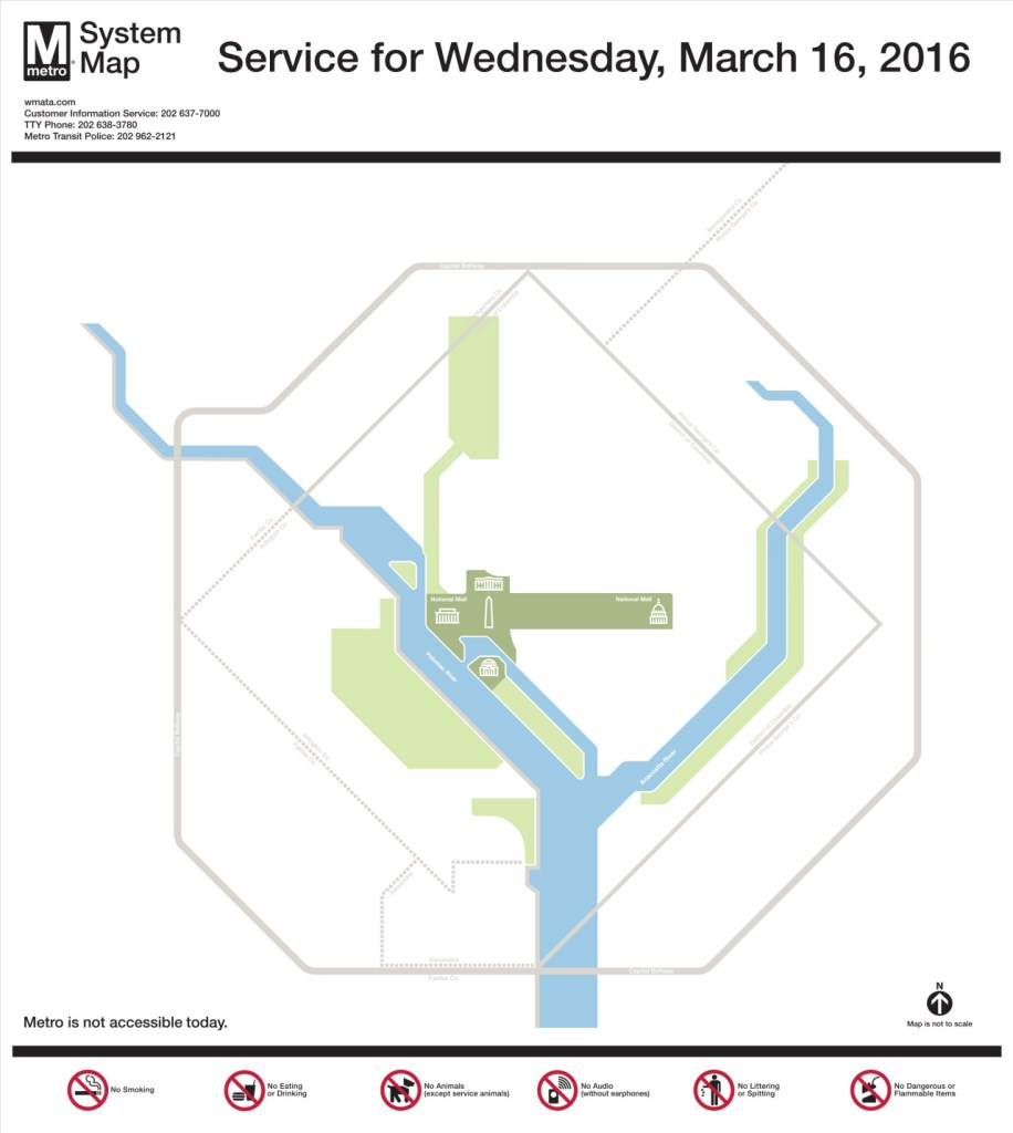 Transit Maps Map Of Washington Dc Metrorail Service Wednesday
