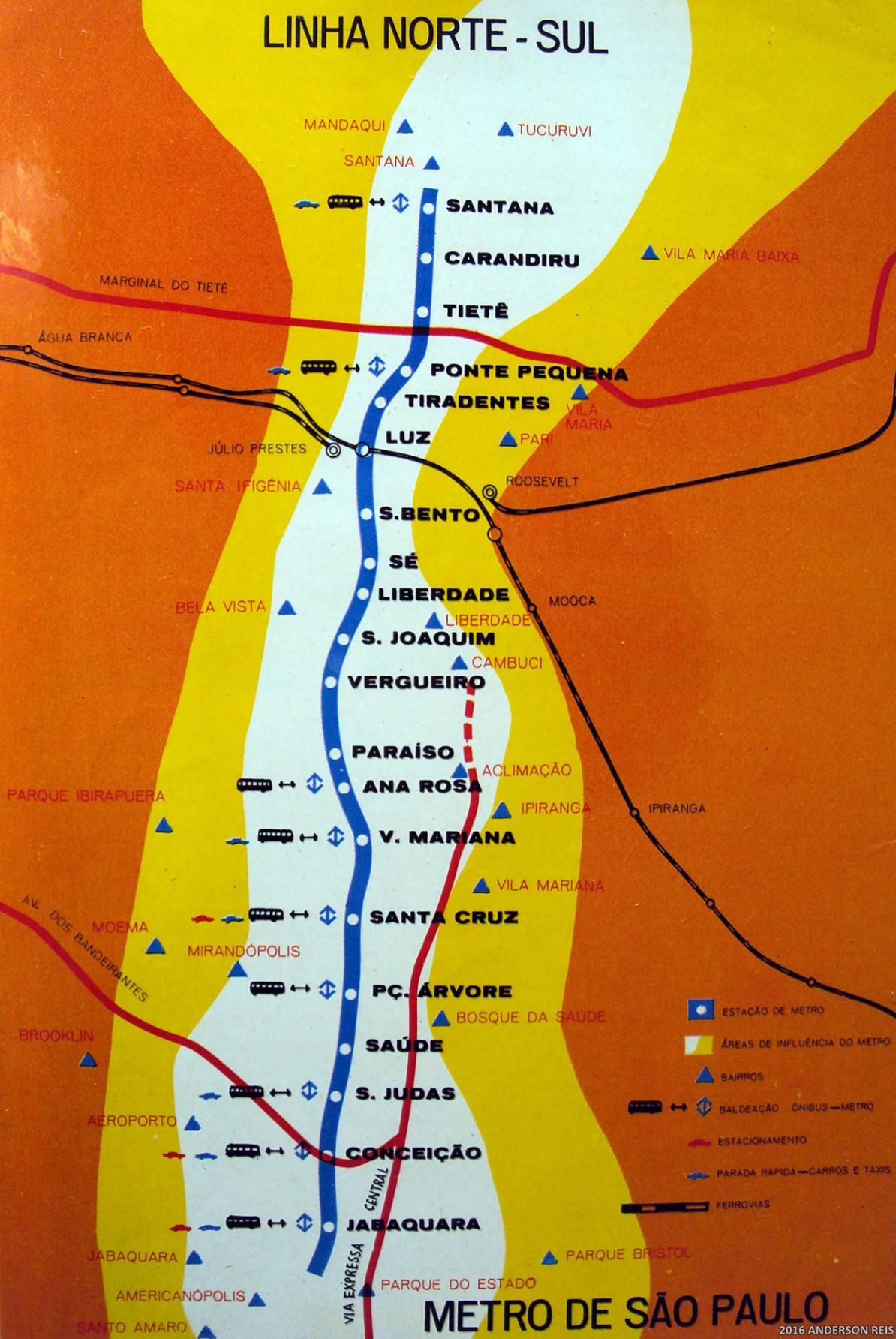 Transit Maps: Historical Map: Metro de São Paulo Linha Norte-Sul, c ...