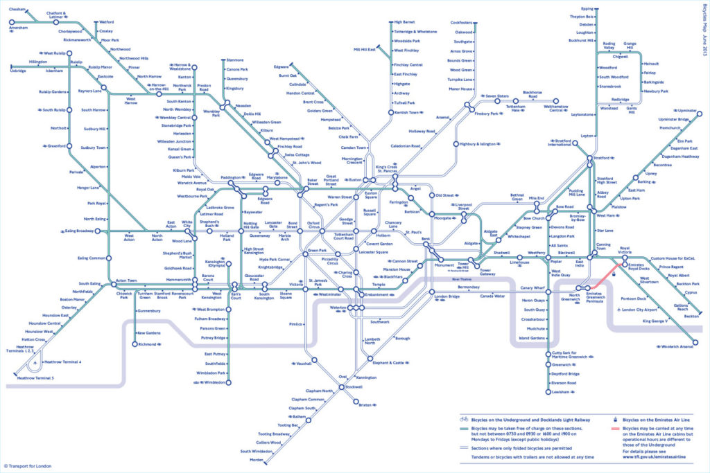 Bike Tube Map Transit Maps: Official Map: Bicycles on the London Underground
