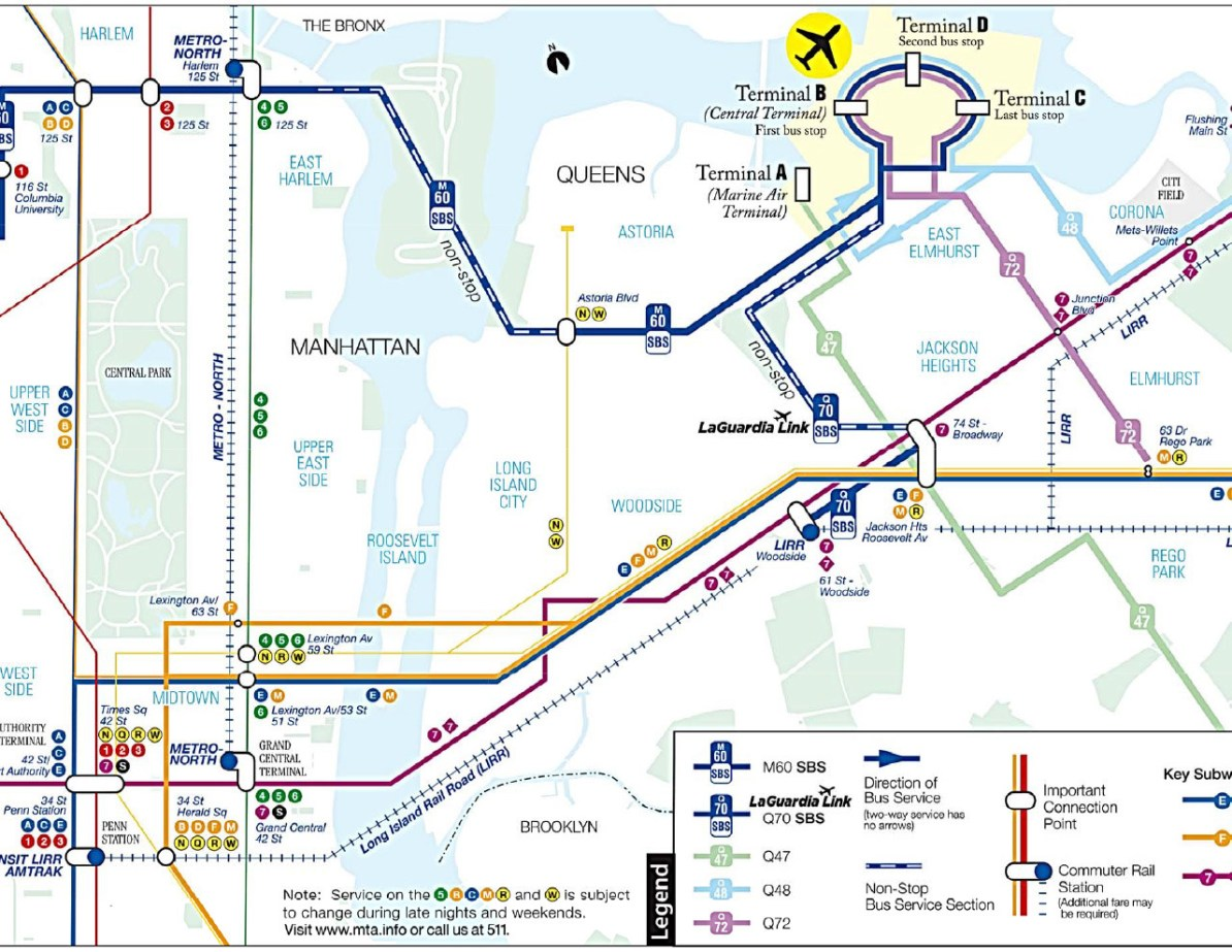 Laguardia Subway Map.Transit Maps Submission Official Map New York Mta Connections To
