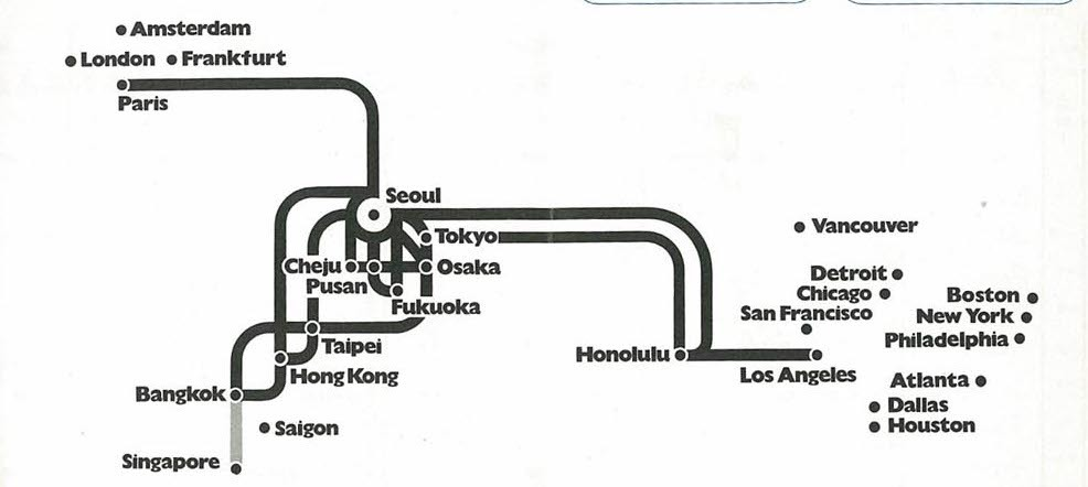 Transit Maps: Historical Map: Korean Air Lines route map, 1974