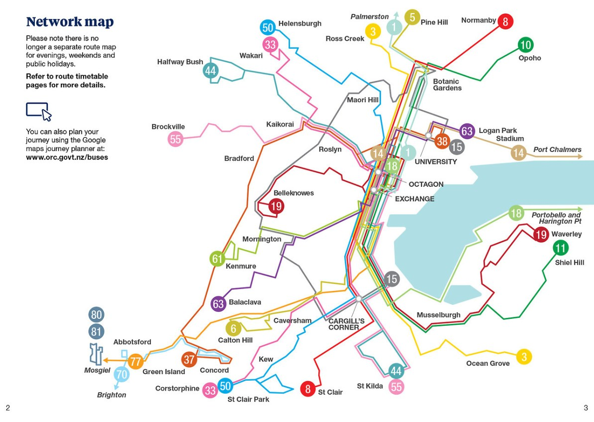 Dunedin Map New Zealand.Transit Maps Submission Official Map Bus Network Map Dunedin