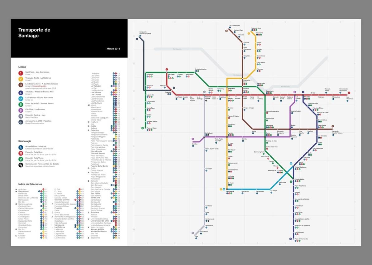 La Metro Map 2018.Transit Maps Submission Redesign Metro De Santiago Chile 2018