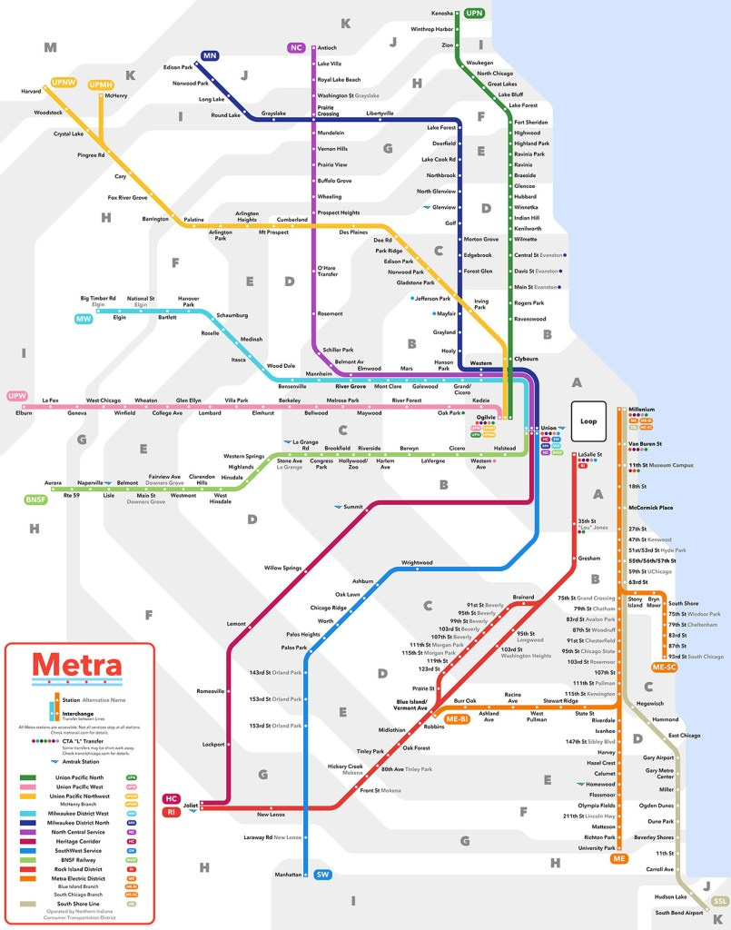 Train In Chicago Map.Transit Maps Submission Unofficial Map Metra Commuter Rail