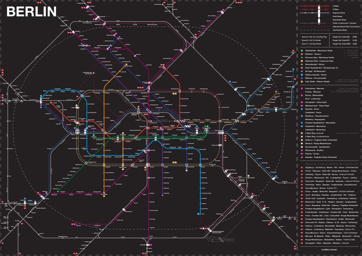 Berlin Subway Map Poster.Transit Maps